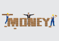Businessman Building Text Money Out of Bricks Vector Illustration Stock Image
