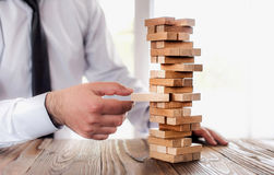 Businessman Building Up Tower, Business Concept Stock Photography
