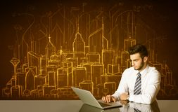 Businessman with buildings and numbers Royalty Free Stock Photography