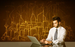 Businessman with buildings and numbers Stock Photography