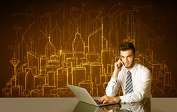 Businessman with buildings and numbers Royalty Free Stock Photos