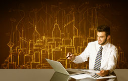 Businessman with buildings and numbers Stock Photos