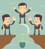 Businessman on a bulb cross an abyss. Vector Royalty Free Stock Images