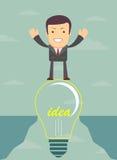 Businessman on a bulb cross an abyss. Vector Royalty Free Stock Photo