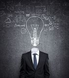 Businessman with bulb in head Stock Photography