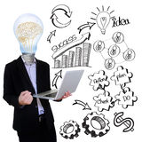 Businessman bulb idea with success illustration. Royalty Free Stock Photos