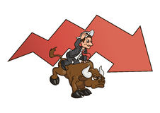 Businessman on bull 4. Illustration of the businessman trying to stay on bull symbolizing risk in business Royalty Free Stock Image