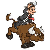 Businessman on bull 2. Illustration of the businessman trying to stay on bull symbolizing risk in business Stock Images