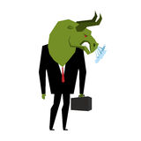 Businessman Bull. Player on stock exchange with head of green bu. Ll. Farm animal with briefcase and tie. Beast in  business a suit. Metaphor Trader in Financial Stock Photography