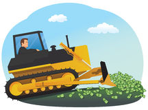 Businessman with bulldozer Stock Images
