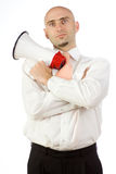 Businessman with bullhorn Royalty Free Stock Photography
