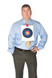 Businessman with bulls eye target on shirt Stock Image