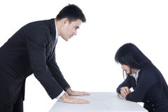 Businessman bullying his subordinate 1. Businessman is yelling at his employee in the office Royalty Free Stock Images