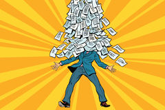 Businessman and bureaucracy, a mountain of paperwork royalty free illustration