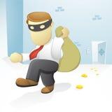 Businessman Burglar. Vector Illustration of a Businessman is burglaring a sack of money Stock Photo
