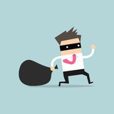 Businessman in burglar mask flees with stolen bag Royalty Free Stock Image
