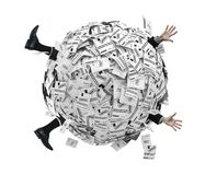 Businessman buried in sphere of financial invoices vector illustration