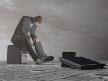 Businessman burn out - 3D render Stock Photos