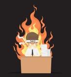 Businessman burned out at work vector illustration