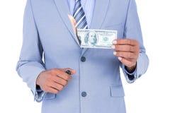businessman burning a dollar banknote Royalty Free Stock Photo