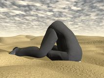 Businessman burying his head in the sand - 3D Royalty Free Stock Images