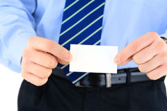 Businessman with business card Stock Photography