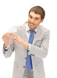 Businessman with business card Royalty Free Stock Photo