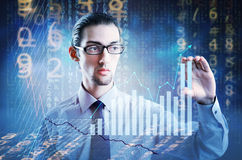The businessman in business concept with chart Stock Photography