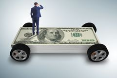 The businessman in the business concept with dollar car royalty free stock photos