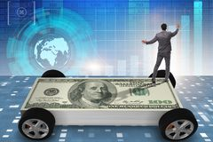 The businessman in the business concept with dollar car royalty free stock photo