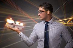 The businessman in business concept with puzzle piece Royalty Free Stock Photography
