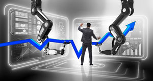 The businessman in business concept with robotic arm Stock Photo