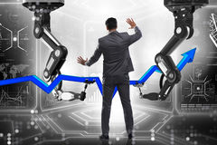 The businessman in business concept with robotic arm Royalty Free Stock Images