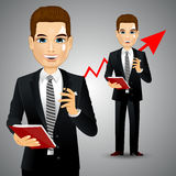 Businessman with business diary Stock Photos