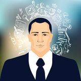 Businessman with business doodles. On colored background Royalty Free Stock Photography