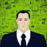 Businessman with business doodles. On green background Stock Photography