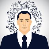 Businessman with business doodles. On white background Stock Photography