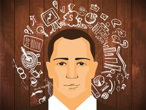 Businessman with business doodles. On wooden background Stock Image