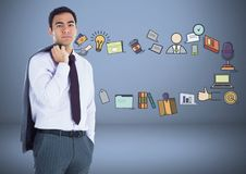 Businessman with business graphic drawings Stock Photo