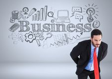 Businessman with business graphic drawings Royalty Free Stock Photo