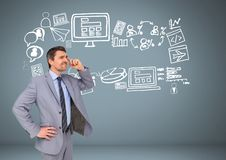 Businessman with Business graphics drawings Royalty Free Stock Photo
