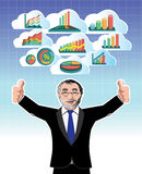 Businessman with business graphs cloud set Royalty Free Stock Photos