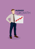 Businessman with Business Growth Chart Cartoon Vector Royalty Free Stock Photography