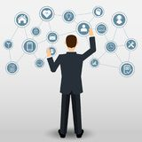 Businessman with Business icons connection stock illustration