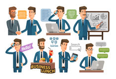 Businessman and business icons set. vector illustration Royalty Free Stock Image