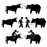 Businessman Business Man with Bull and Bear Cliparts. A set of human pictogram representing the bull and bear market with a businessman controlling the animals Royalty Free Stock Images
