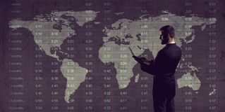 Businessman. Business, office and financial concept. Businessman with computer tablet standing over diagram. World map background. Business, globalization Royalty Free Stock Photos