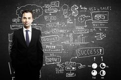Businessman and business plan Royalty Free Stock Photography