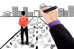 Businessman with business planning doodles Stock Images