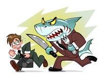 Businessman and business shark Stock Photos